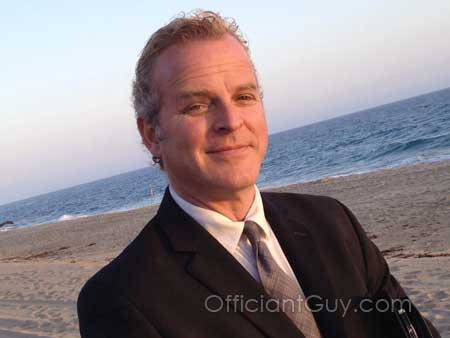 wedding officiant on California beach